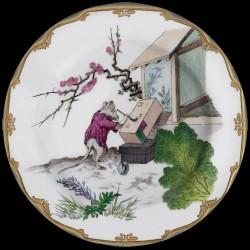 Souris qui peint Assiette en tole sérigraphiée