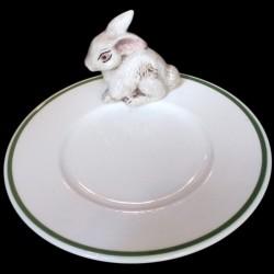Lapin blanc sur petite assiette D 16,6 cm