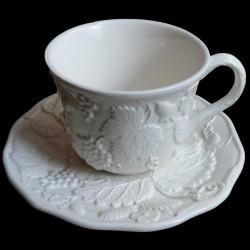 Tasse à déjeuner et sous tasse blanc cassé uni