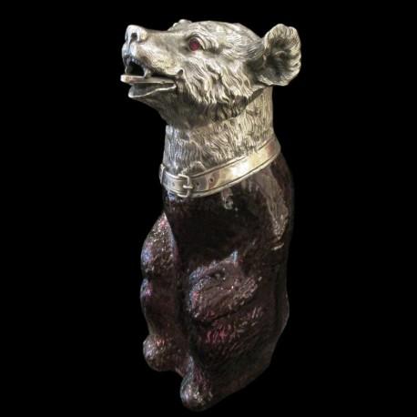 Carafe ours monté tête métal argenté XXème H 23 CM