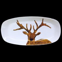 Cerf plat long ovale 46x23 cm
