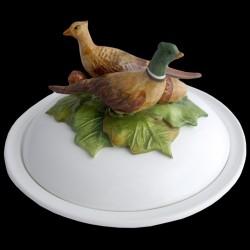 Faisans - assiette creuse avec cloche D 23 cm