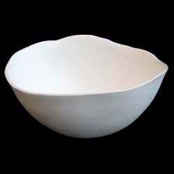 Ensemble de 3 coupelles MM en porcelaine blanche biscuit et émail