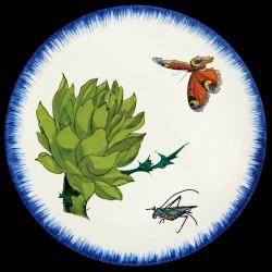Assiette de table 26 cm Artichaut, papillon et sauterelle