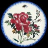 Majolica dessert plate red peony and fly