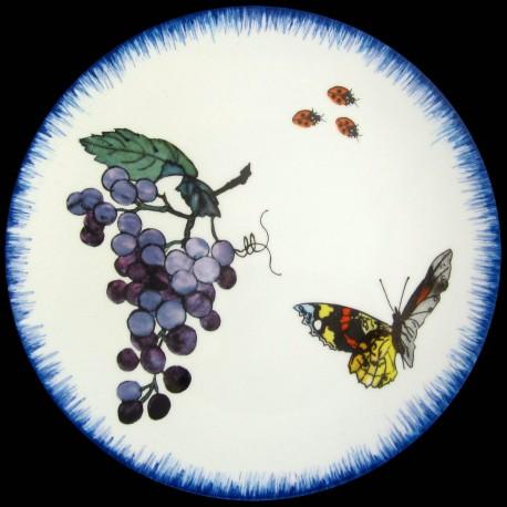 Assiette à dessert 23 cm Grappe de raisin, papillon et coccinelles