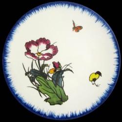 Assiette à dessert 23 cm Pavot, papillon et poussin jaune