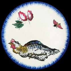 Assiette creuse 21,5 cm Poule couvant, liserons et papillon