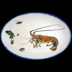 Oval long dish 42x29 cm Lobster, eggplant flower and shell