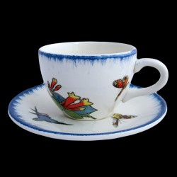 Tea cup and saucer 9,2 cm H 6,7 cm Swallow butterfly sparrow and bells