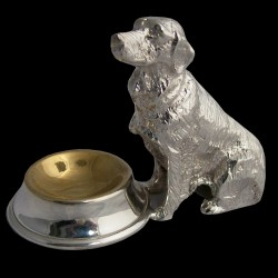 Salière chien assis métal argenté