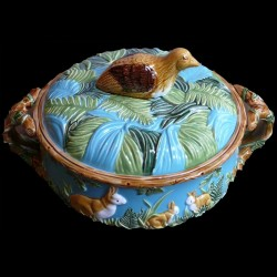 Majolica white tureen with hares small size