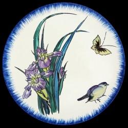 Plato hondo 21,5 cm Iris malva, mariposa y gorrión