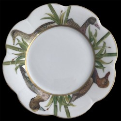 Assiette dessert Nymphéa têtes d'oiseaux porcelaine de Limoges Canard