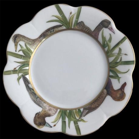 Limoges porcelain dessert plate Nymphea ducks