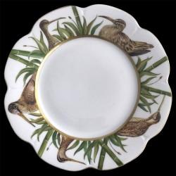 Assiette de table Nymphéa tête oiseaux porcelaine de Limoges Bécasse