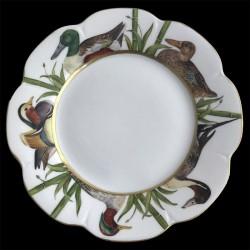Limoges porcelain dinner plate Nymphea duck
