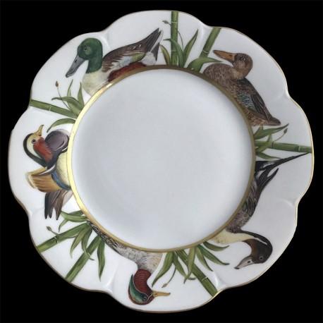 Assiette de table Nymphéa tête oiseaux porcelaine de Limoges Canard