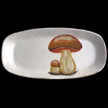Majolica porcini mushroom long oval dish