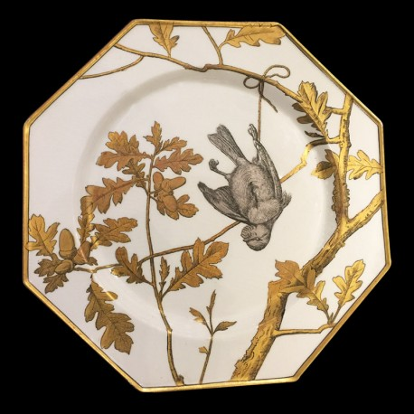 Minton Aesthetic Movement Ornithological 10 Cabinet Plates