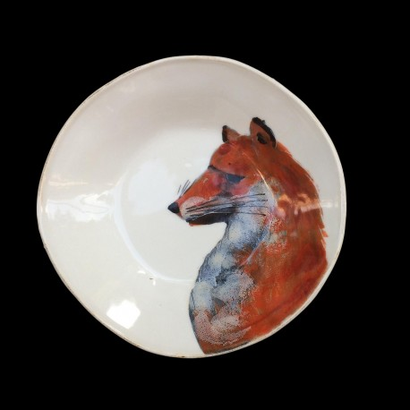 Majolica fox deep plate