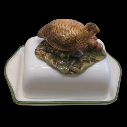 Butter dish with partridge red on the top