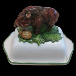 Butter dish with wild boar on the top