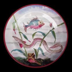 """Assiette en tôle """"Le Monde fantastique"""" Anguille rose"""