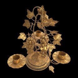Gilted grapes candle holder