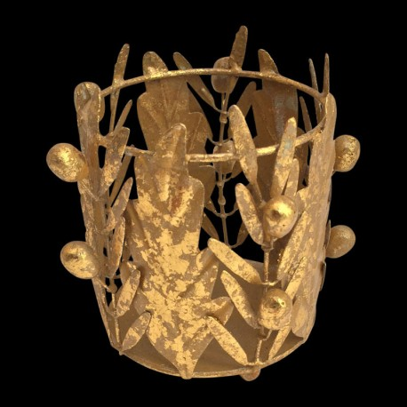 Gilted olive & oak candle holder