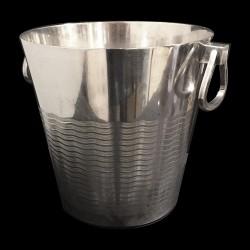 Seau métal argenté Médard gravé ondulation