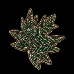 Leaf embroidered coaster