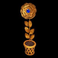 Golden rose pot with blue heart
