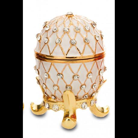 Boite oeuf style Fabergé Blanc émaillée