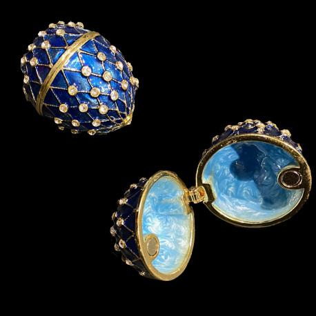 Boite oeuf style Fabergé bleu émaillé