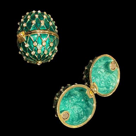 Boite oeuf style Fabergé vert