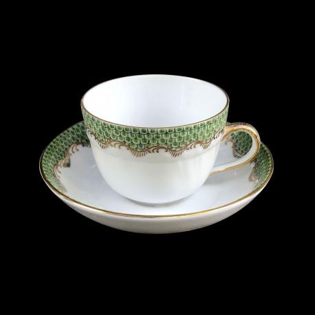 Tasse à moka et sous-tasse Herend Ecailles vertes