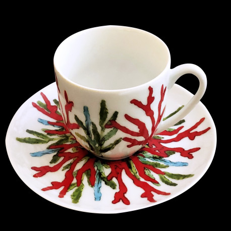 Porcelain coffee cup and saucer Red Coral
