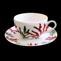Tasse à thé porcelaine Corail