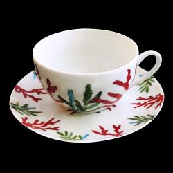Tasse à déjeuner porcelaine Corail