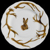 Limoges porcelain dessert plate antler deer and hare head