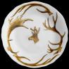 Assiette creuse bois cerf et tête de cerf bois de velours porcelaine de Limoges