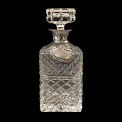 Carafe à whisky cristal taillé et étiquette argent