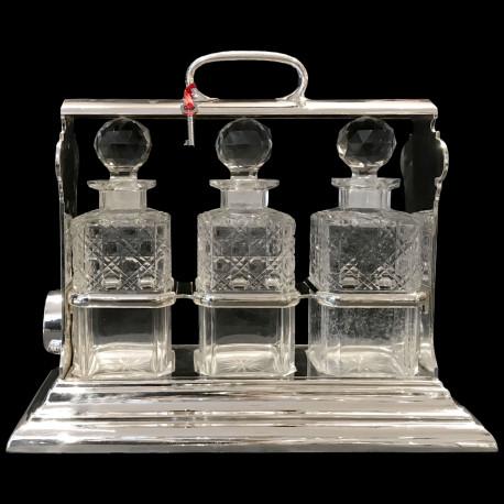 Tantalus 3 carafes cristal Walker&Hall c. 1900