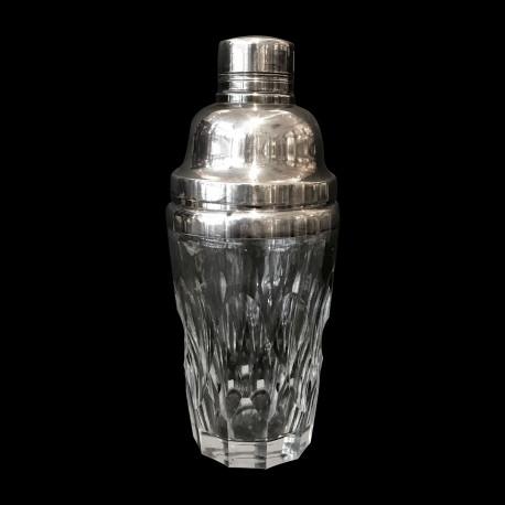 Shaker en cristal et métal argenté XXe