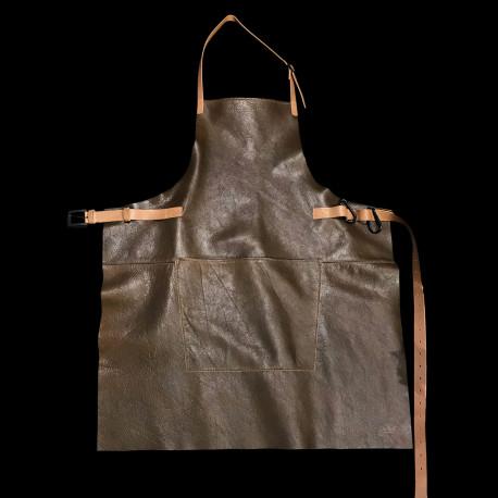 Tablier en cuir à mousquetons Brun vintage