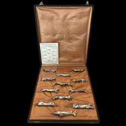 12 porte-couteaux animaux Sandoz pour Gallia Christofle, vers 1930