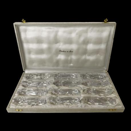 12 porte-couteaux bûches en cristal de Sèvres