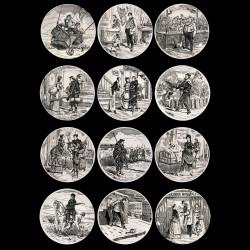 """12 Assiettes """"Paris Assiégé"""" Creil & Montereau"""
