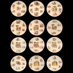 12 illustrated dinner plates Don Quixote in Lunéville earthenware